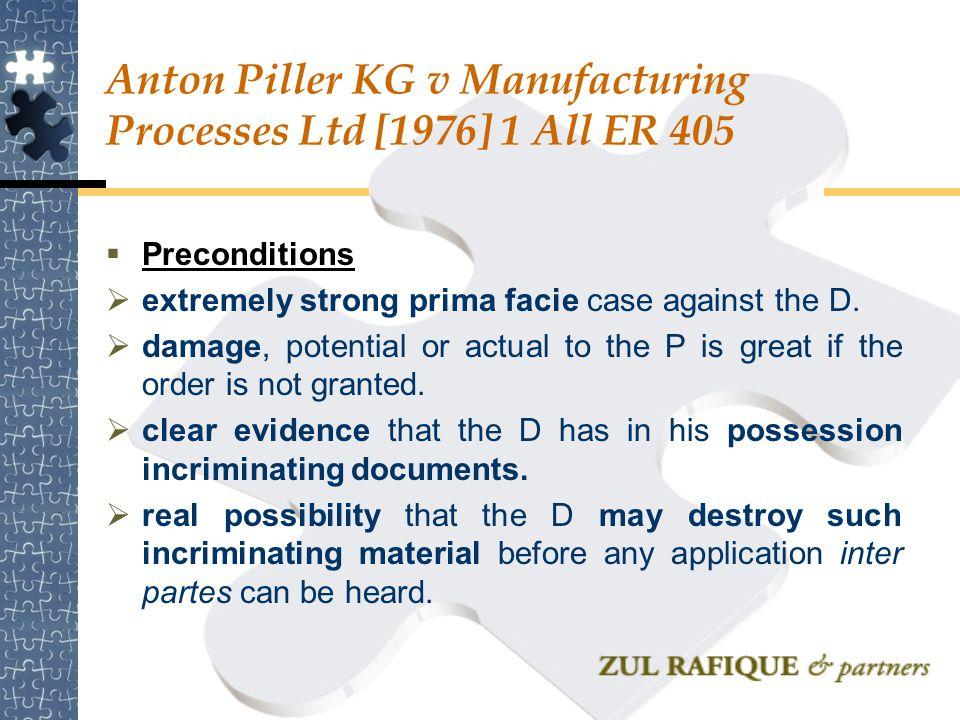 Anton Piller KG v Manufacturing Processes Ltd [1976] 1 All ER 405